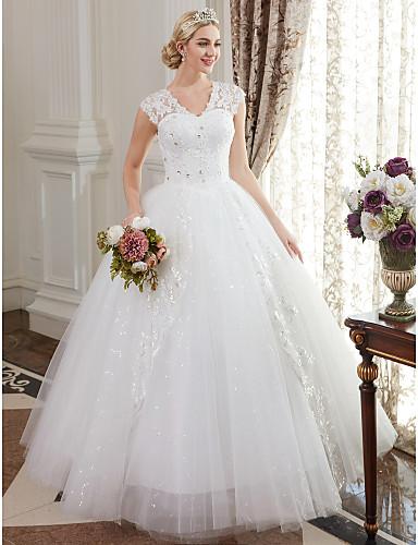 dccec4f70 Salón Escote en Pico Hasta el Suelo Satén   Encaje sobre tul Vestidos de novia  hechos