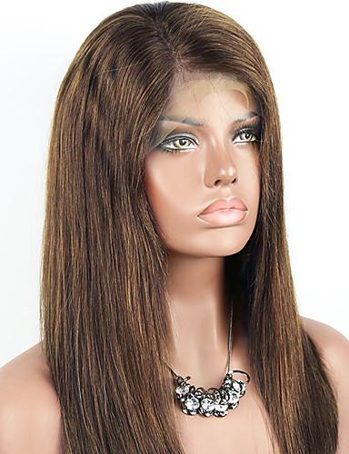 povoljno Perike s ljudskom kosom-Remy kosa Netretirana  ljudske kose Lace Front Perika Kardashian stil Brazilska kosa Ravan kroj Svjetlosmeđ Perika 130% Gustoća kose s dječjom kosom Prirodna linija za kosu neprerađenih Izbijeljeni