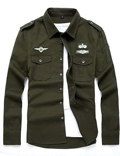 levne Pánské košile-Pánské - Jednobarevné Armáda Větší velikosti Košile, Výšivka Bavlna Černá / Dlouhý rukáv / Léto / Podzim
