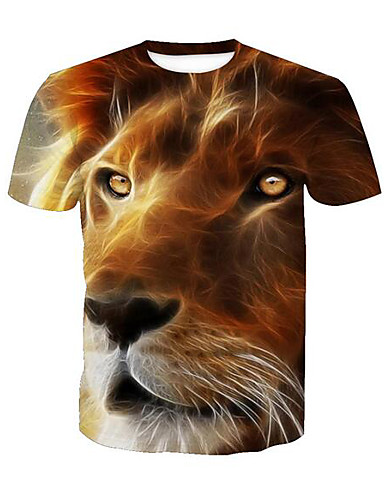 voordelige Uitverkoop-Heren Actief Print T-shirt dier Ronde hals Leeuw Geel / Korte mouw / Zomer