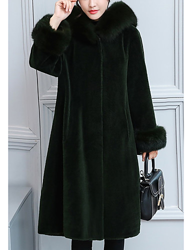 cheap Women's Furs & Leathers-Women's Winter Fur Coat Long Solid Colored Daily Black Blushing Pink Green S M L