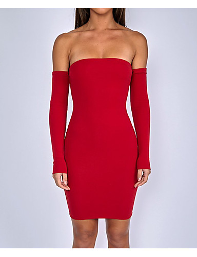 69c3f006ad26 Women s Off Shoulder Party   Going out Mini Skinny Bodycon   Sheath Dress -  Solid Colored High Waist Strapless   Off Shoulder Summer White Black Red S  M L ...