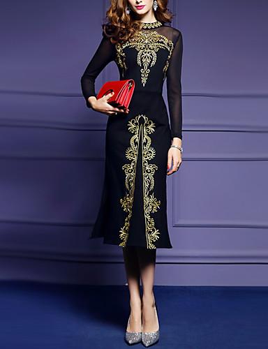 levne Šaty velkých velikostí-Dámské Větší velikosti Štíhlý Pouzdro Šaty - Jednobarevné Midi Černá