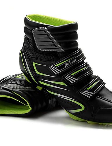 billige Sykling-Tiebao® Mountain Bike-sko Karbonfiber Anti-Skli Sykling Svart / Rød Svart / Grønn Herre Sykkelsko / ånd bare Blanding / Krok og øye