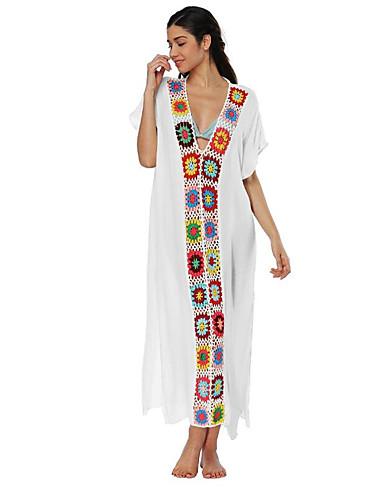 voordelige Maxi-jurken-Dames Feestdagen Uitgaan Street chic Verfijnd Katoen Skinny Schede Jurk - Effen Bloemen, Blote rug Cut Out Diepe V-hals Maxi / Sexy