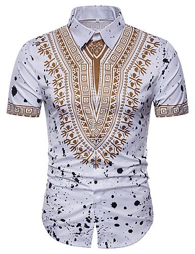 Spredt krage Store størrelser Skjorte Herre - Tribal, Trykt mønster Hvit / Kortermet / Sommer