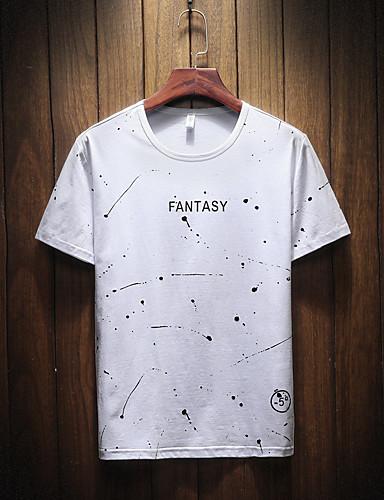 5244b2d6ff Ανδρικά T-shirt Βασικό - Βαμβάκι Γεωμετρικό Στρογγυλή Λαιμόκοψη Στάμπα  6618956 2019 –  14.27