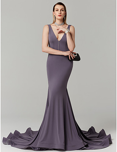 6cece439995 Mermaid   Trumpet Plunging Neck Court Train Jersey Open Back Cocktail Party    Prom   Formal Evening Dress with Pleats by TS Couture® 6553493 2019 –   149.99