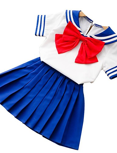 preiswerte Ausverkauf-Baby Mädchen Grundlegend Alltag Solide Kurzarm Standard Baumwolle Kleidungs Set Blau