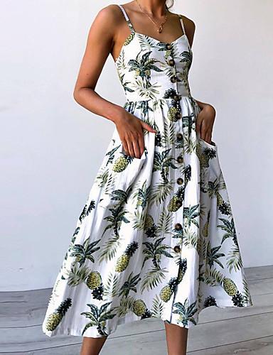 preiswerte Kleider zum Reinschlüpfen & Tops-Damen Party Ausgehen Punk & Gothic Schlank Hülle Kleid Blumen Übers Knie Gurt Weiß Staubige Rose / Sexy