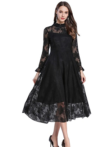 152119695046 Women s Daily   Work Basic   Street chic Swing Dress - Solid Colored Lace  Crew Neck Spring Black Khaki L XL XXL 6647041 2019 –  15.30