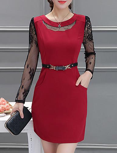 12259f38630 Women s Plus Size Daily Wear Classic   Timeless A Line Dress - Solid Color  Classic Style High Waist Summer Blue Black Wine XXL XXXL 4XL   Slim 5712600  2019 ...