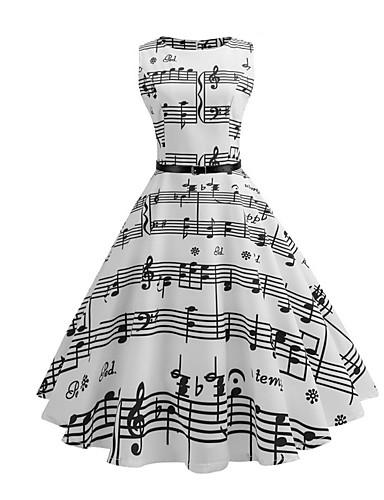 preiswerte Vintage Ladies-Damen Retro 50er A-Linie Kleid - Druck, Gestreift Midi Weiß