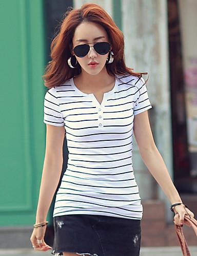 billige Dametopper-Bomull V-hals T-skjorte Dame - Stripet, Trykt mønster Grunnleggende Ferie Hvit / Sommer / fin Stripe