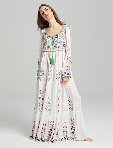 preiswerte Damenbekleidung-Damen Festtage Grundlegend / Boho Etuikleid Kleid Blumen Maxi V-Ausschnitt