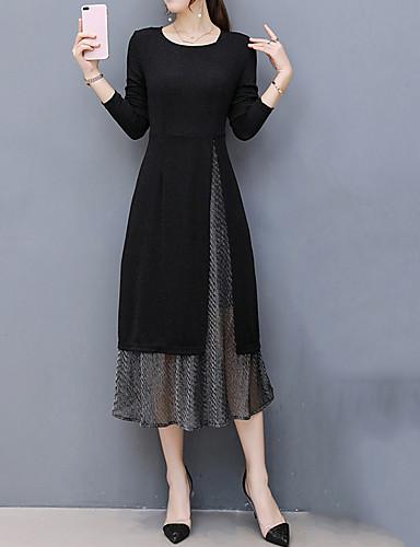 levne Pracovní šaty-Dámské Větší velikosti Jdeme ven Pouzdro Šaty - Patchwork, Patchwork Midi Černá