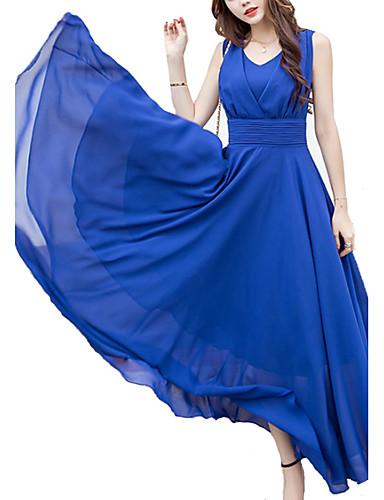 levne Maxi šaty-Dámské Větší velikosti Šifón Swing Šaty - Jednobarevné Midi Do V