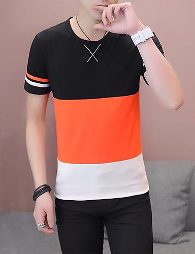 preiswerte FIFA Fußball-Weltmeisterschaft-Herrn Solide - Grundlegend T-shirt, Rundhalsausschnitt Orange / Kurzarm
