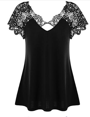 billige T-skjorter til damer-Bomull Tynn V-hals Store størrelser T-skjorte Dame - Ensfarget, Blonde Grunnleggende Svart / Blonder / Sexy