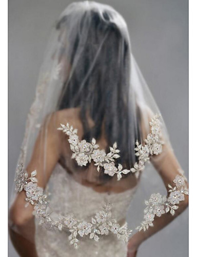 billige Bryllupsslør-To-lags Stilfuld / Perler Bryllupsslør Albue Slør med Imiterede Perler / Broderi POLY / Dråbeslør