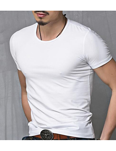 voordelige Heren T-shirts & tanktops-Heren Actief Grote maten - T-shirt Katoen Effen Ronde hals Wit / Korte mouw / Zomer