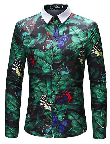 levne Pánské košile-Pánské - Geometrický Základní EU / US velikost Košile, Tisk Podšívka Štíhlý Trávová zelená / Dlouhý rukáv
