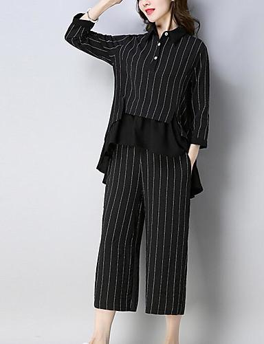 billige Dametopper-Dame Grunnleggende Store størrelser Sett Bukse Stripet Skjortekrage / Vår / fin Stripe