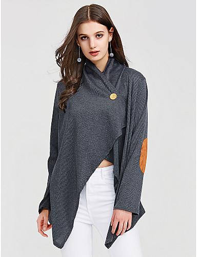 billige Dametopper-Bomull Løstsittende V-hals T-skjorte Dame - Fargeblokk Gatemote Ut på byen Mørkegrå
