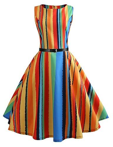 preiswerte Regenbogen-Damen Retro 50er A-Linie Kleid - Druck, Gestreift Regenbogen Knielang