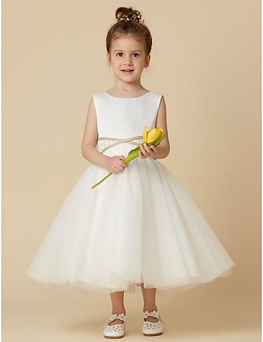 a5550847cb Princess Tea Length Flower Girl Dress - Satin / Tulle Sleeveless Jewel Neck  with Appliques / Sash / Ribbon by LAN TING BRIDE® 5862747 2019 – $69.99