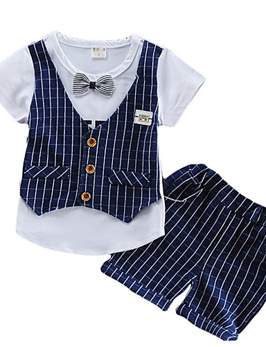 preiswerte Ausverkauf-Baby Jungen Street Schick Gestreift Kurzarm Kleidungs Set Rote