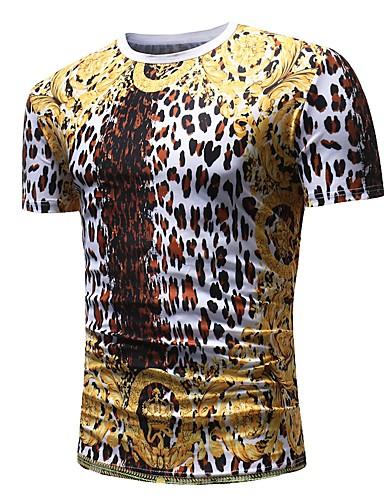 levne Pánská tílka-Pánské - Leopard Základní / Punk & Gothic Tričko Bavlna Kulatý Zlatá / Krátký rukáv / Léto