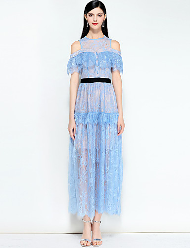 ef14f820edc49 Women's Off Shoulder Party / Going out Boho / Street chic Swing Dress -  Solid Colored Spring Blue Navy Blue M L XL 6606486 2019 – $108.99