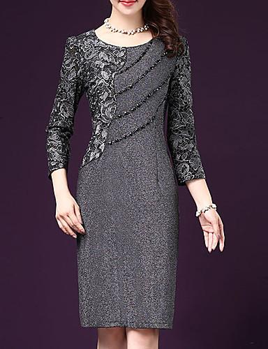 levne Pracovní šaty-Dámské Větší velikosti Pouzdro Šaty - Jednobarevné Délka ke kolenům