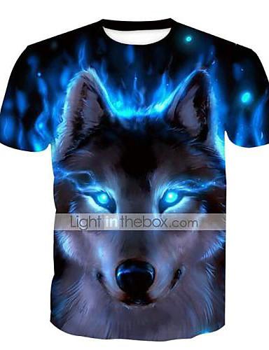voordelige Uitverkoop-Heren Standaard Print Grote maten - T-shirt dier Ronde hals Slank blauw / Korte mouw / Zomer