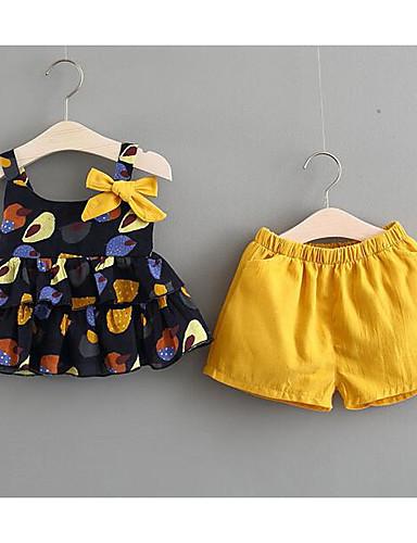 preiswerte Ausverkauf-Baby Mädchen Alltag Druck Schößchen / Schleife Ärmellos Standard Standard Kleidungs Set Blau / Niedlich