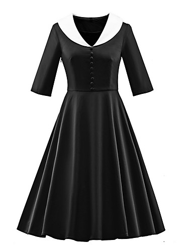 e3e1deeddca6 Women s Plus Size Daily   Going out Vintage Slim Swing Dress - Solid  Colored V Neck Summer Black Navy Blue Wine L XXL XXXL 6614052 2019 –  27.99