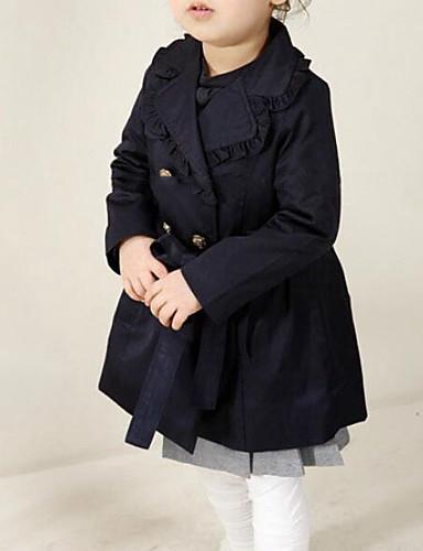 preiswerte Trenchcoats für Mädchen-Baby Mädchen Street Schick Alltag Solide Langarm Lang Baumwolle Trenchcoat Marinenblau