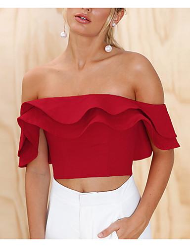 billige Dametopper-Stroppeløs / Løse skuldre T-skjorte Dame - Ensfarget Ut på byen Hvit / Drapering