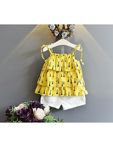 preiswerte Ausverkauf-Baby Mädchen Aktiv Alltag Festtage Druck Ärmellos Baumwolle Kleidungs Set Gelb / Niedlich