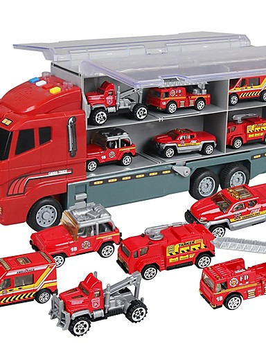 cheap Kids' Diecasts & Toy Vehicles-Toy Car Music Vehicles Truck Construction Truck Set Fire Engine Vehicle Glow Plastic Shell Boys' Girls' 7 pcs