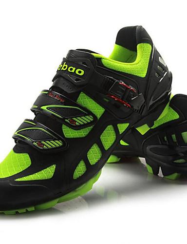 billige Sykling-Tiebao® Mountain Bike-sko Karbonfiber Anti-Skli Sykling Grønn / Svart Herre Sykkelsko / ånd bare Blanding / Krok og øye