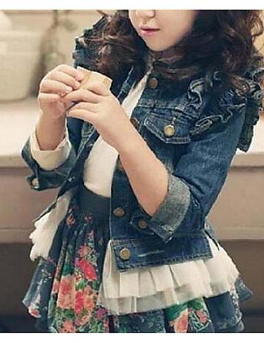 preiswerte Kinderkleidung-Kinder Mädchen Solide Jacke & Mantel Blau