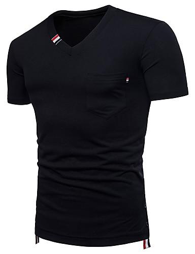 voordelige Heren T-shirts & tanktops-Heren Standaard T-shirt Katoen, Sport / Strand Effen / Gestreept / Kleurenblok V-hals Zwart / Korte mouw