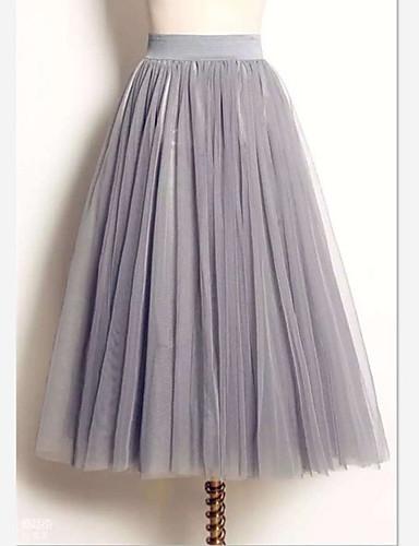 preiswerte Damen Unterbekleidung-Damen Balletröckchen nette Art Maxi Schaukel Röcke - Solide Tüll Weiß Schwarz Grau M L XL