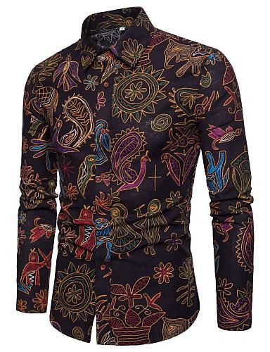 voordelige Uitverkoop-Heren Boho / Chinoiserie Print Overhemd Katoen / Linnen, Club Paisley / Tribal Opstaande boord Zwart / Lange mouw