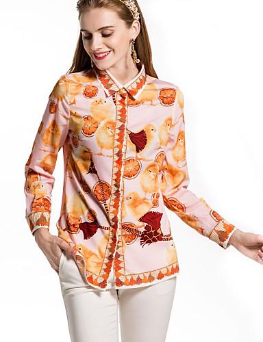 billige Dametopper-Skjortekrage Skjorte Dame - Ensfarget / Blomstret Grunnleggende