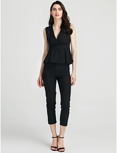 billige Dametopper-Dame T-skjorte Bukse Ensfarget V-hals / Sommer / Drapering