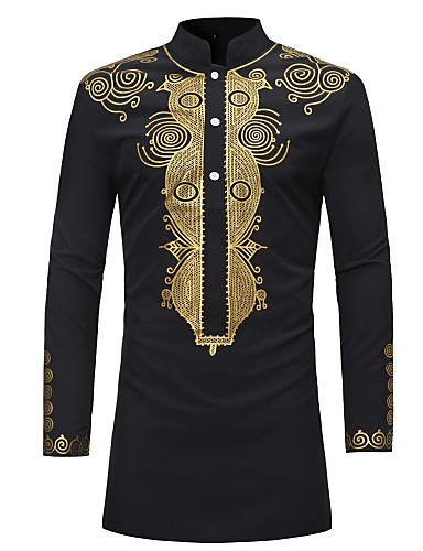 billige Vintage-Opprett krage Skjorte Herre - Tribal, Trykt mønster Vintage Svart / Langermet
