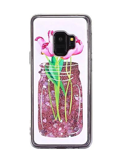 Etui Til Samsung Galaxy S9 / S9 Plus / S8 Plus Flommende væske Bakdeksel Blomsternål i krystall Myk TPU